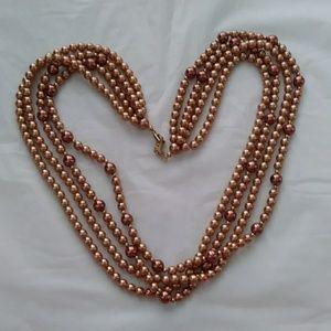 Pearl Necklace Champagne Copper 4 Strand